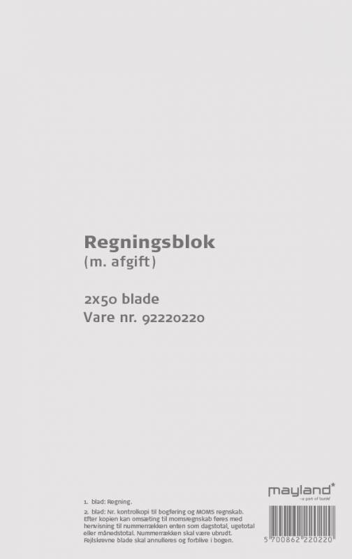 Image of   Regningsblok m/afgift 100bl 126x200mm 92 2202 20