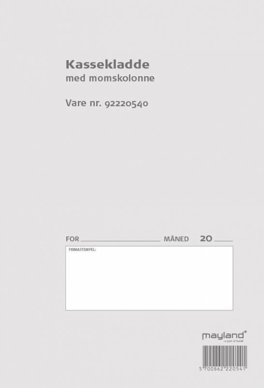 Image of   Kassekladde m/momskolonne 140x205mm 92 2205 40