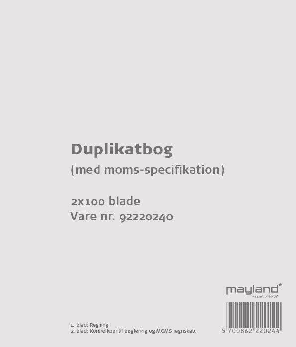 Image of   Duplikatbog m/moms 2x100bl 126x148mm 92 2202 40
