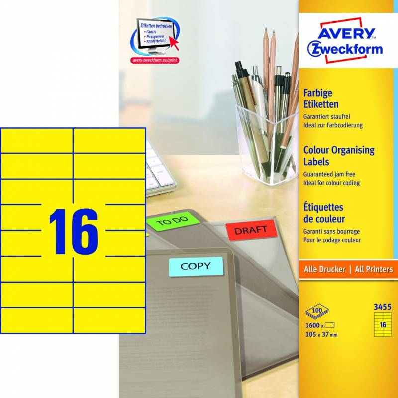 Image of   Etiket Avery 3455 gul 105x37mm 1600stk/pak