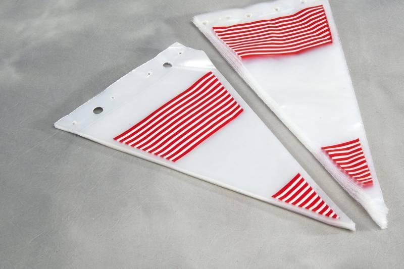 Image of   Spidsposer klar m/røde striber 240x400mm 1000stk/pak