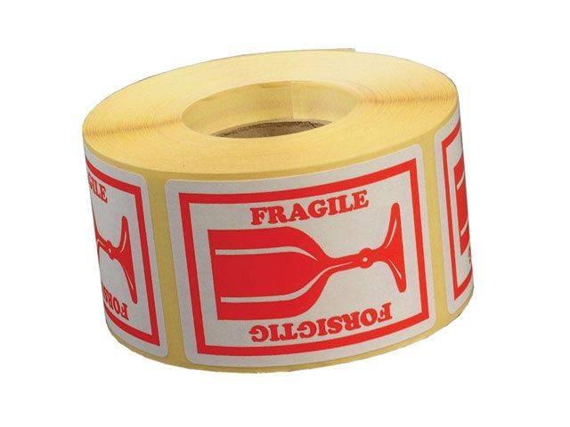 Etiket m/tekst Forsigtig/ Fragile 45x65mm 1000stk/rul