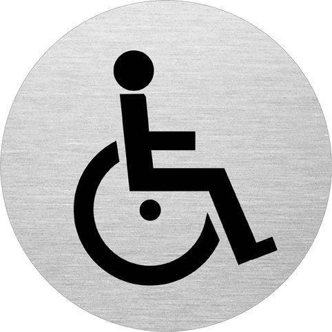Billede af Skilt Handicaptoilet Ø:75mm aluminium