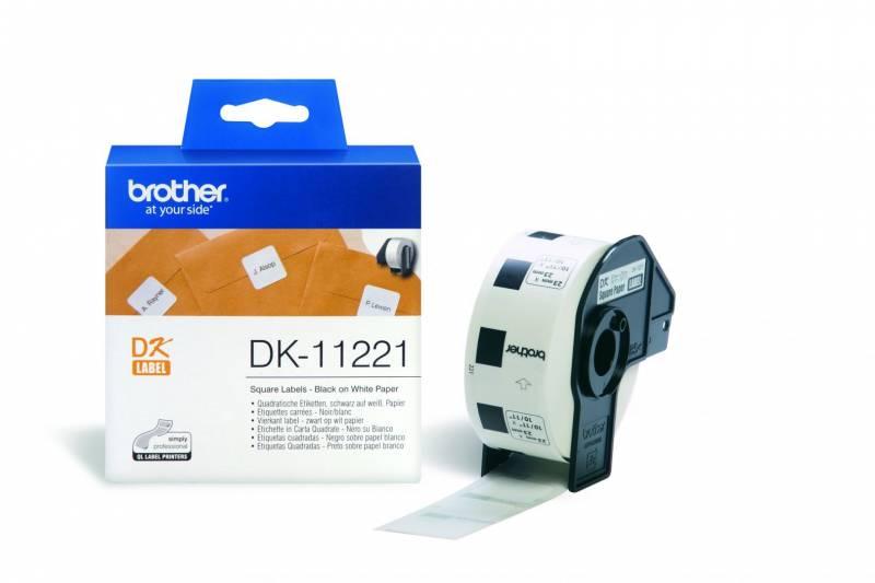 Image of   Label Brother hvid DK11221 23x23mm 1000stk/rul