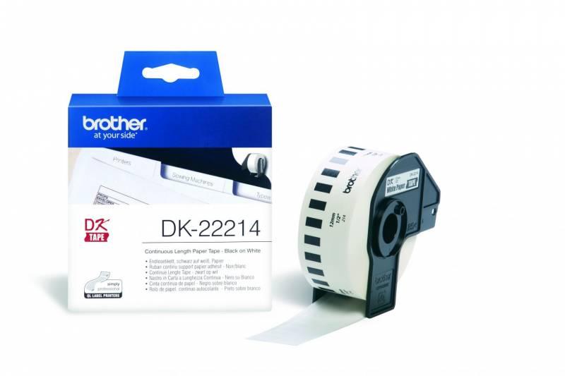 Billede af Label Brother hvid DK22214 30,48mx12mm papirtape