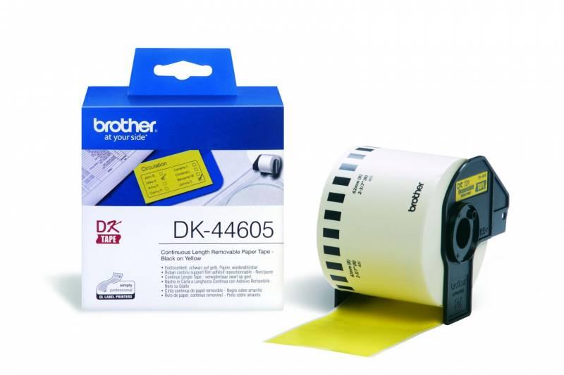 Billede af Label Brother gul DK44605 30,48mx62mm aftagelig papir