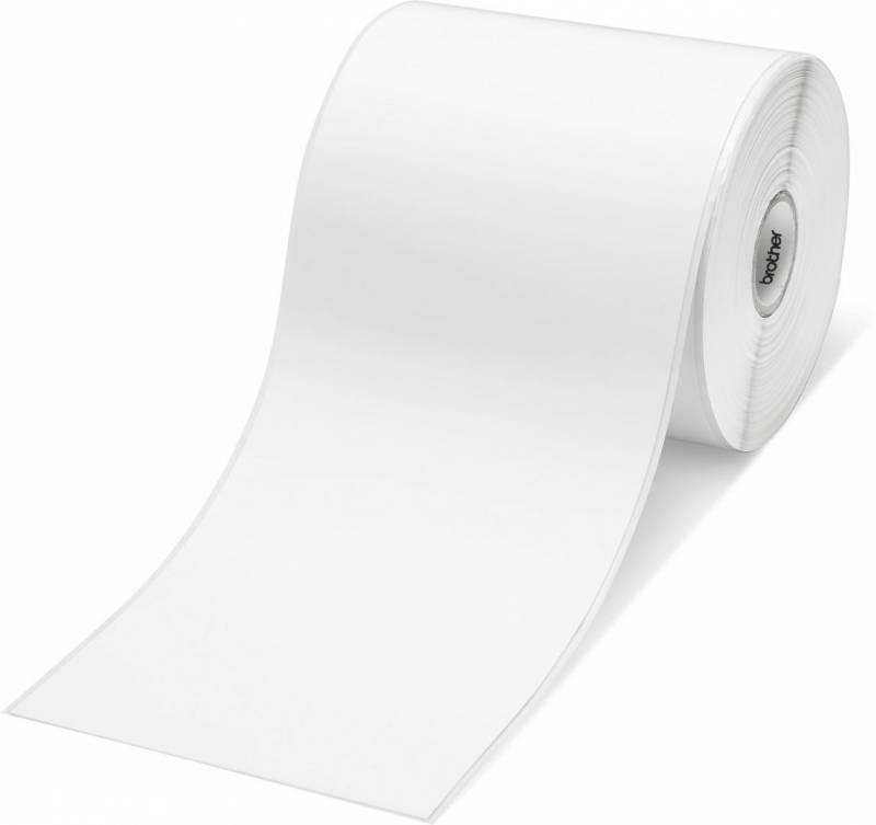Billede af Labeltape Brother RDS01E2 102mm sort på hvid papirtape