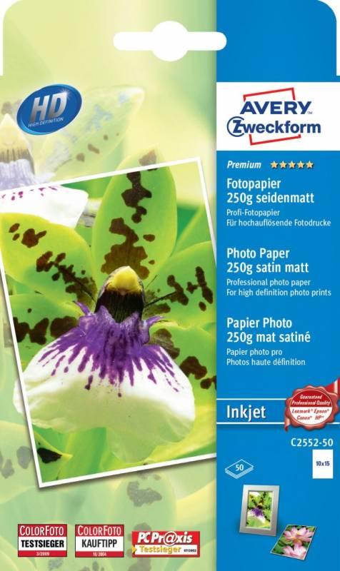 Image of   Fotopapir Premium 10x15cm 250g t/inkjet 1 foto/ark pk/50 ark