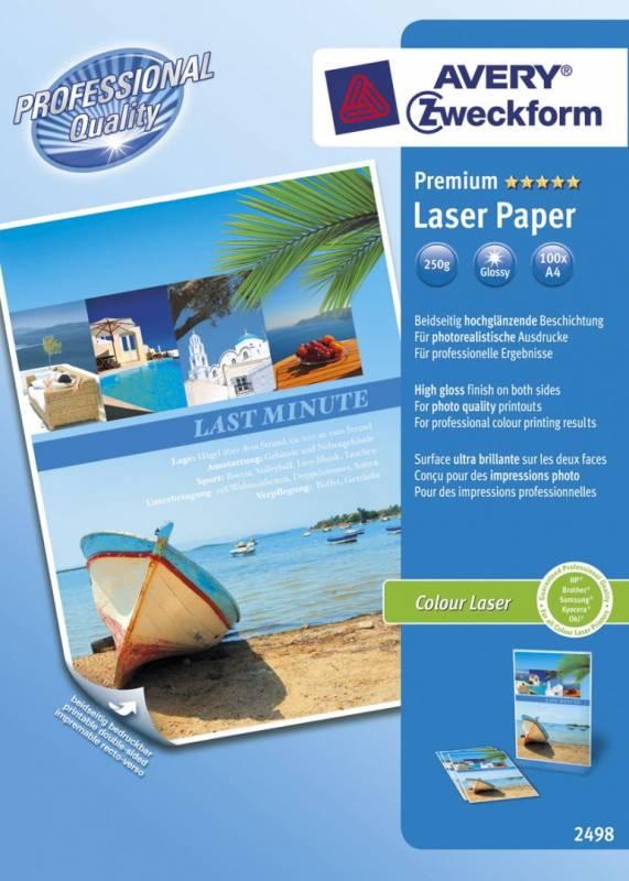 Image of   Fotopapir Premium A4 250g Glossy t/farvelaser 100ark/pak