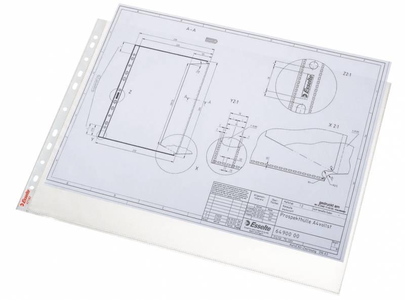 Billede af Plastlomme Esselte A3 0,085mm hul kort side premium 10stk/pak