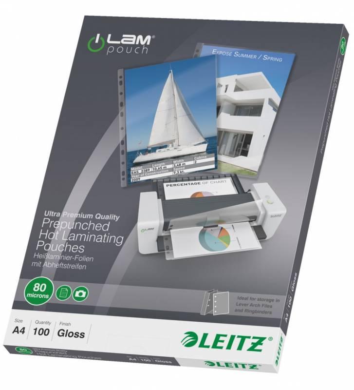 Billede af Lamineringslomme Leitz A4 80 mic forhullet 100stk/pak