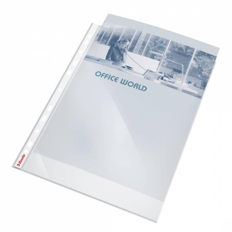 Billede af Plastlomme Esselte A4 0,105mm kraftig glasklar 10stk/pak m/hvid hulkant