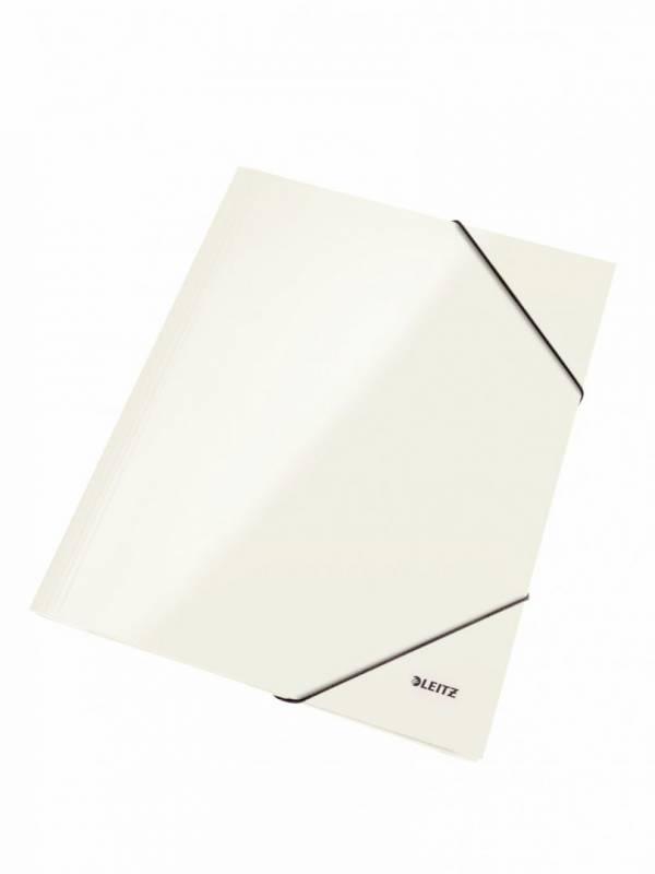 Image of   Mappe pap Leitz WOW A4 hvid m/3 klapper & elastik