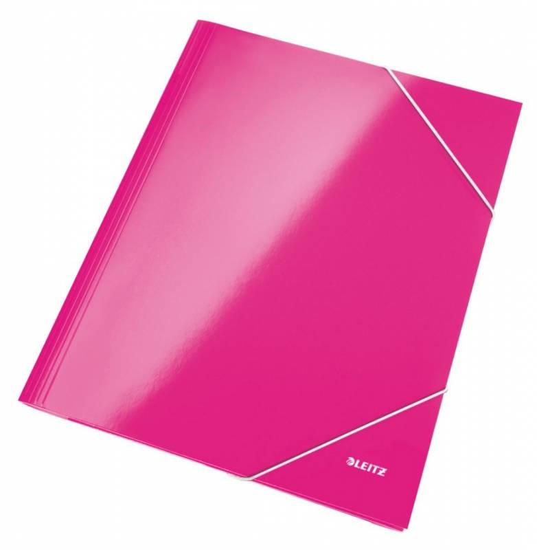 Image of   Mappe pap Leitz WOW A4 pink m/3 klapper & elastik
