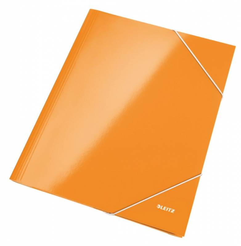 Image of   Mappe pap Leitz WOW A4 orange m/3 klapper & elastik