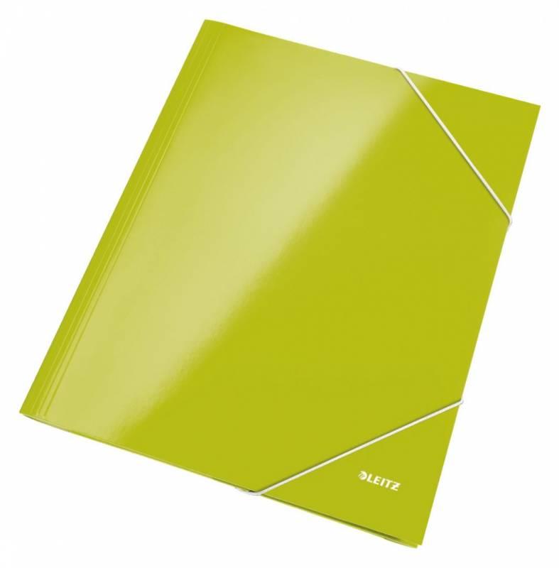 Billede af Mappe pap Leitz WOW A4 grøn m/3 klapper & elastik