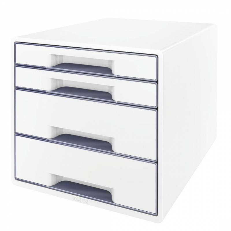 Skuffekabinet Leitz Desk Cube WOW hvid/grå 4 skuffer