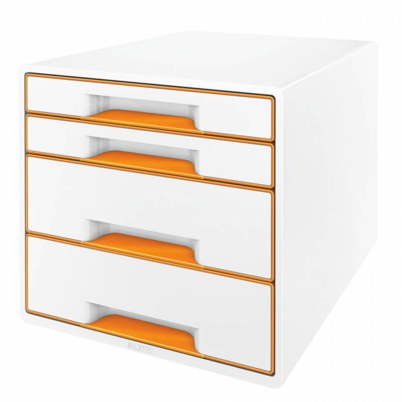 Image of   Skuffekabinet Leitz Desk Cube WOW hvid/orange 4 skuffer