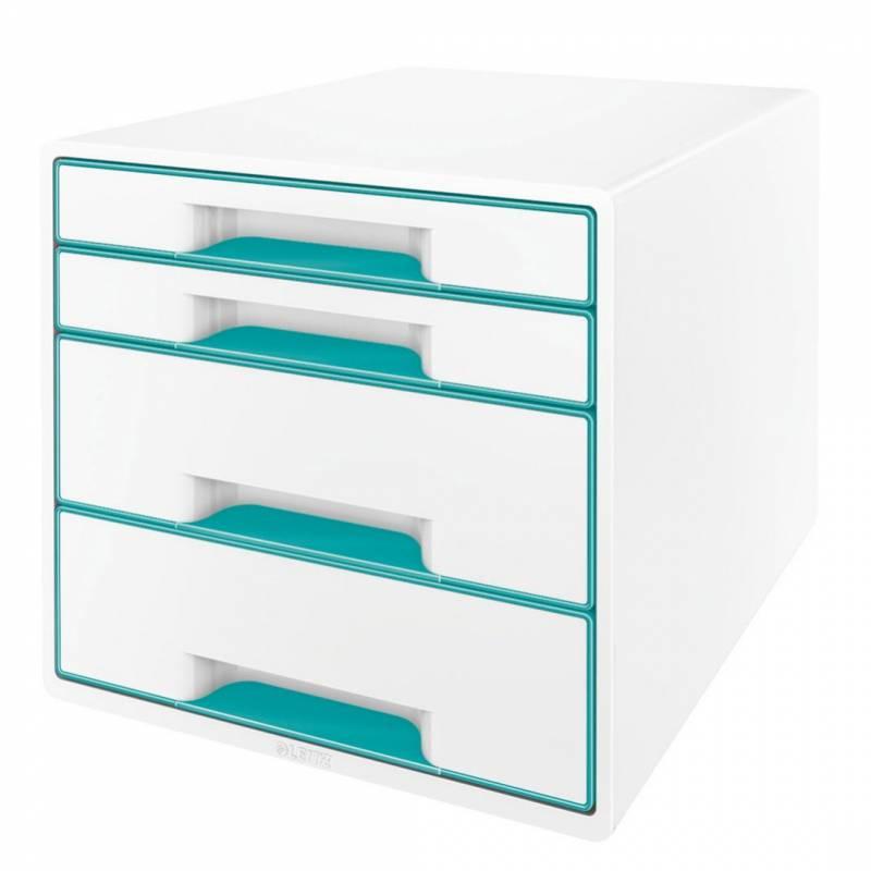 Image of   Skuffekabinet Leitz Desk Cube WOW hvid/isblå 4 skuffer