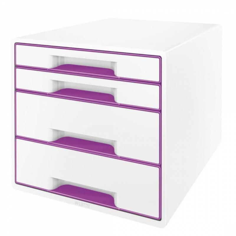 Image of   Skuffekabinet Leitz Desk Cube WOW hvid/lilla 4 skuffer