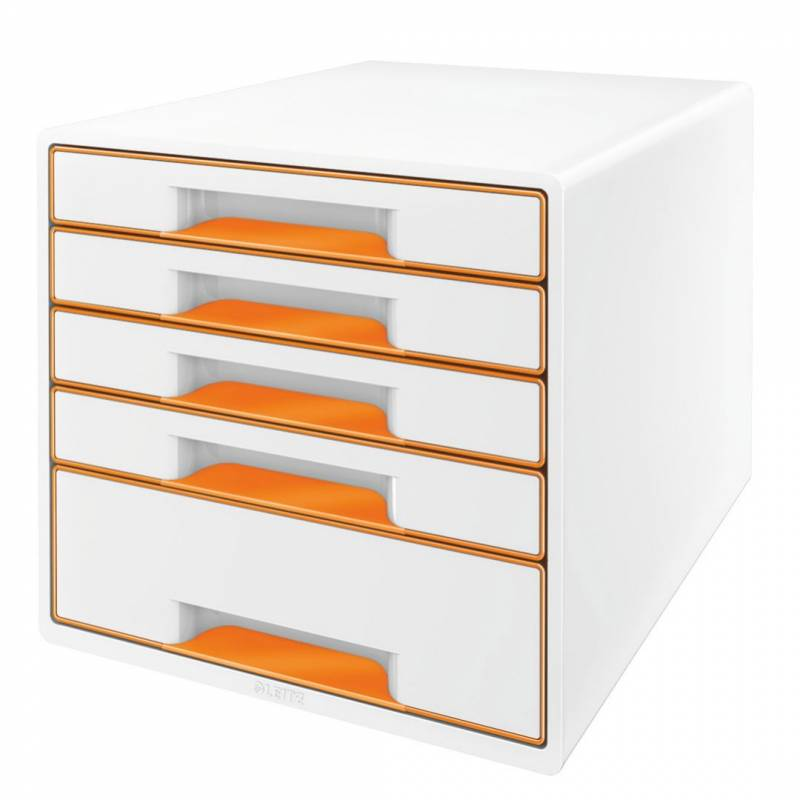 Image of   Skuffekabinet Leitz Desk Cube WOW hvid/orange 5 skuffer