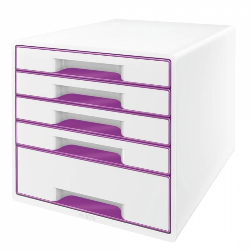 Image of   Skuffekabinet Leitz Desk Cube WOW hvid/lilla 5 skuffer