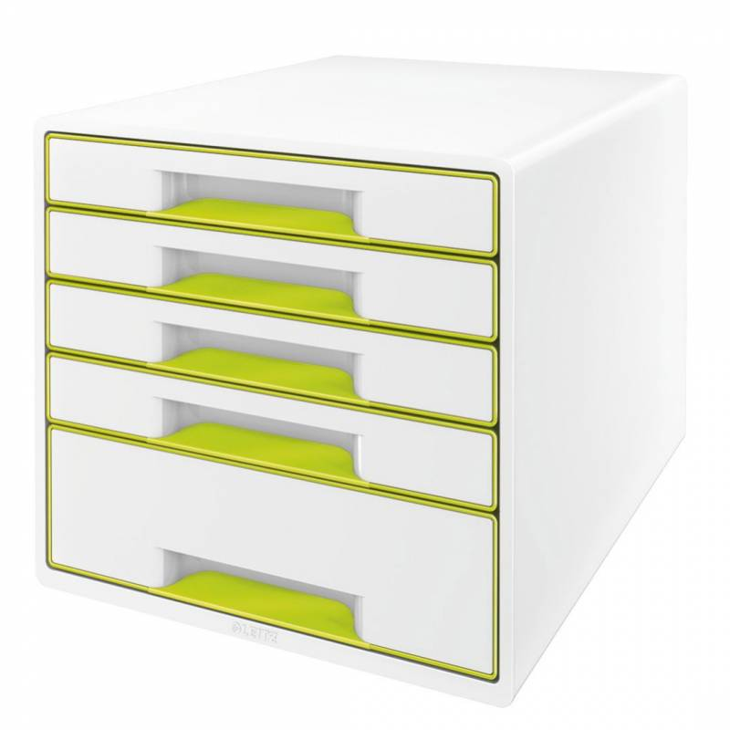Skuffekabinet Leitz Desk Cube WOW hvid/grøn 5 skuffer