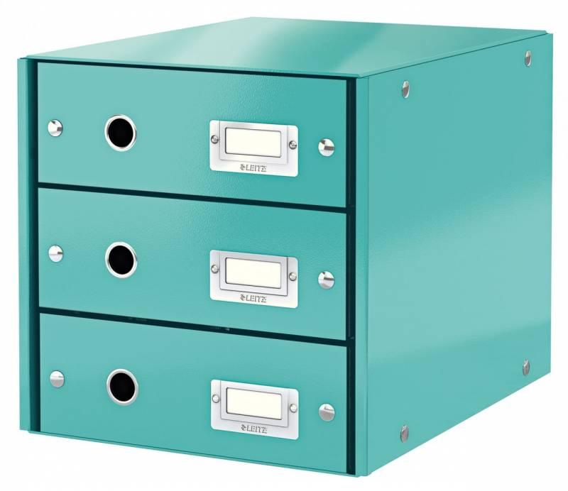 Image of   Skuffekabinet Click&Store WOW 3 skuffer isblå