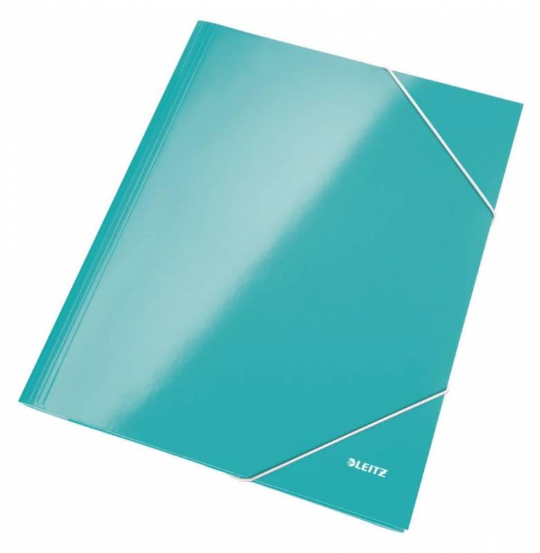 Billede af Kartonmappe Leitz WOW A4 isblå m/3 klapper & elastik