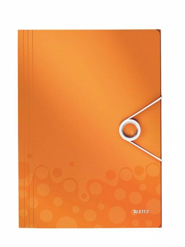 Image of   Plastmappe Leitz WOW PP A4 m/3 klapper & elastik orange