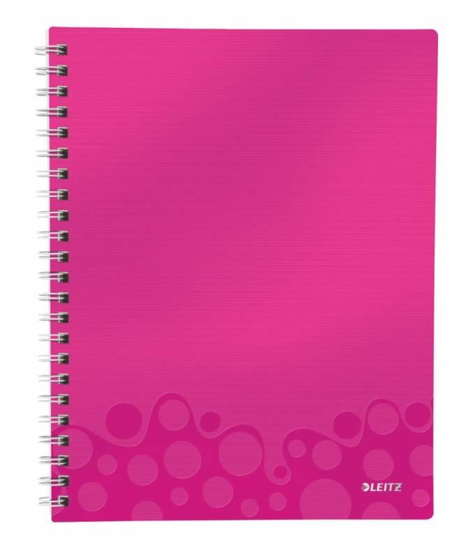 Billede af Notesblok WOW A4 lin 3-delt 80g 80 blade pink