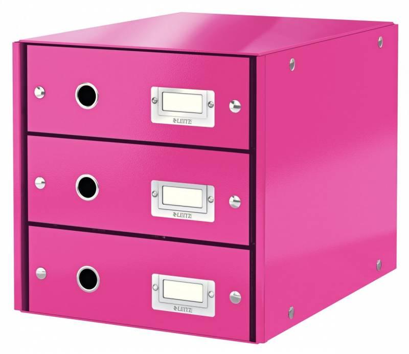 Image of   Skuffekabinet Click&Store 3 skuffer Leitz WOW pink