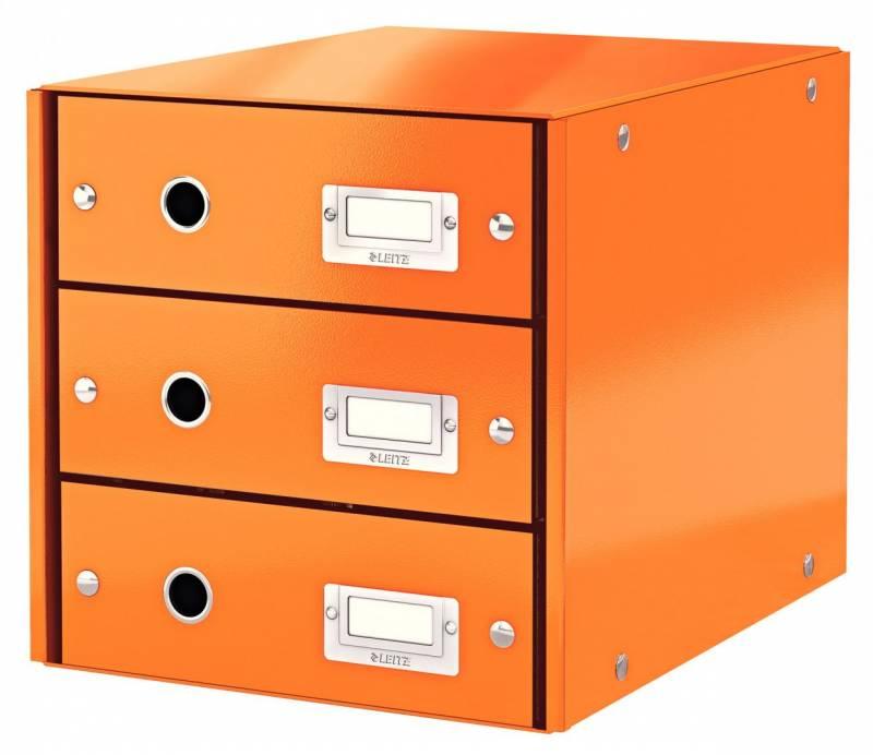 Image of   Skuffekabinet Click&Store 3 skuffer Leitz WOW orange