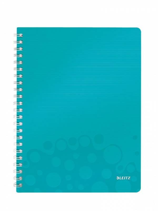 Billede af Notesbog Leitz WOW PP A4 lin m/hul 80g 80 blade isblå