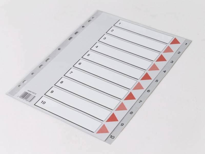 Billede af Plastregister Q-Line A4 1-10 grå m/kartonforblad