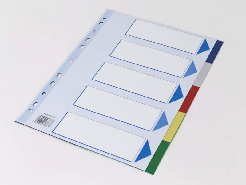 Image of   Faneblad Q-Line A4 5-delt i plast m/kartonforblad
