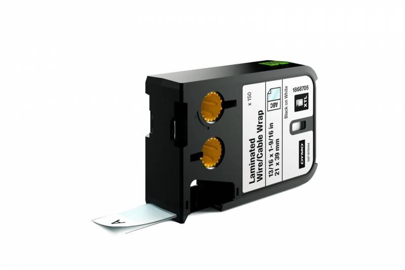 Image of   Labeltape DYMO XTL 21x39mm sort på hvid lamineret t/kabel