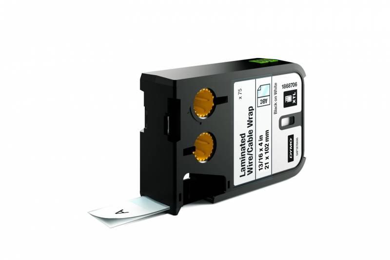 Image of   Labeltape DYMO XTL 21x102mm sort på hvid lamineret t/kabel