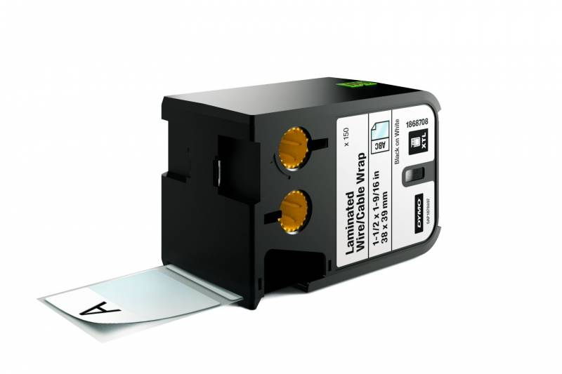 Image of   Labeltape DYMO XTL 38x39mm sort på hvid lamineret t/kabel