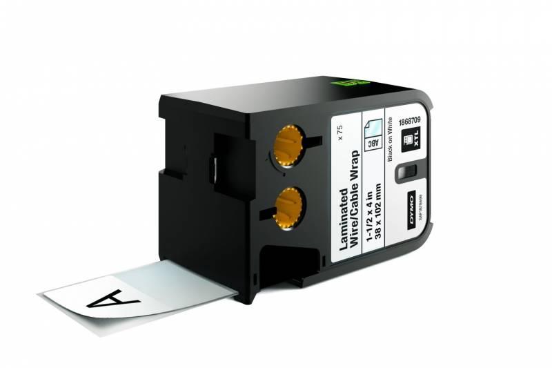 Image of   Labeltape DYMO XTL 38x102mm sort på hvid lamineret t/kabel