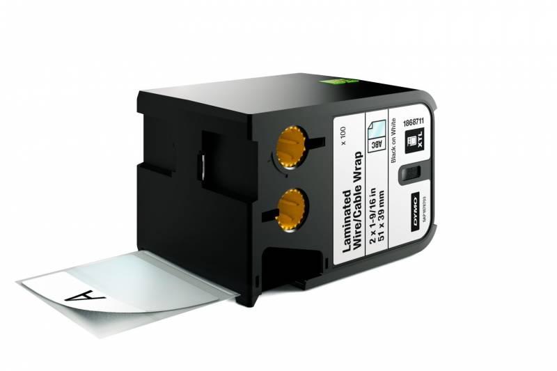 Image of   Labeltape DYMO XTL 51x39mm sort på hvid lamineret t/kabel