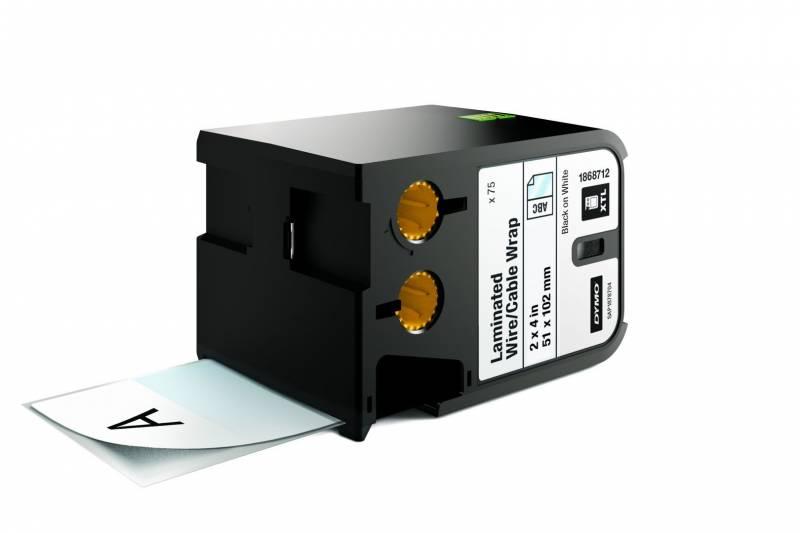 Labeltape DYMO XTL 51x102mm sort på hvid lamineret t/kabel