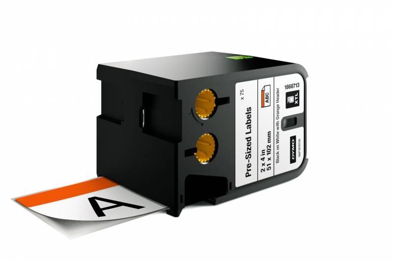Image of   Labeltape DYMO XTL 51x102mm sort på hvid med orange top