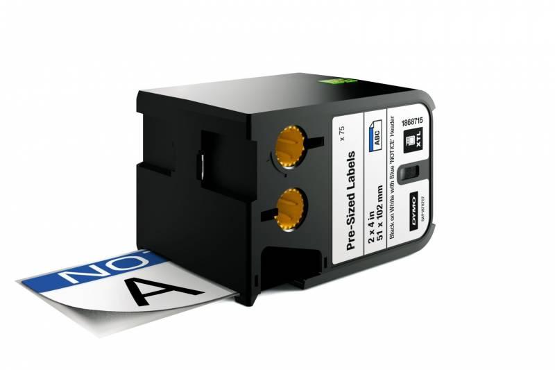 Billede af Labeltape DYMO XTL 51x102mm sort på hvid m/blå top/Notice