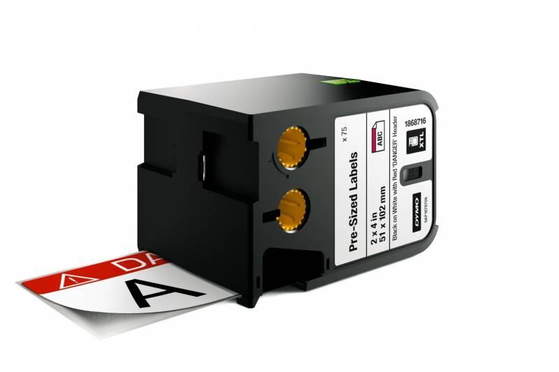 Image of   Labeltape DYMO XTL 51x102mm sort på hvid m/rød top/Danger
