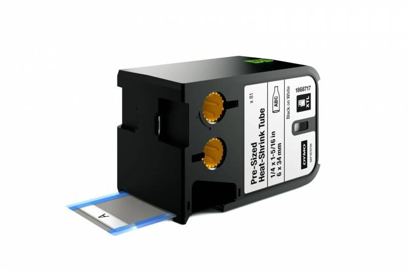 Image of   Labeltape DYMO XTL 6x34mm sort på hvid krympeflex