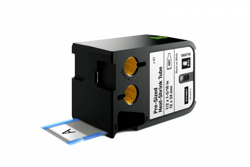 Image of   Labeltape DYMO XTL 12x34mm sort på hvid krympeflex