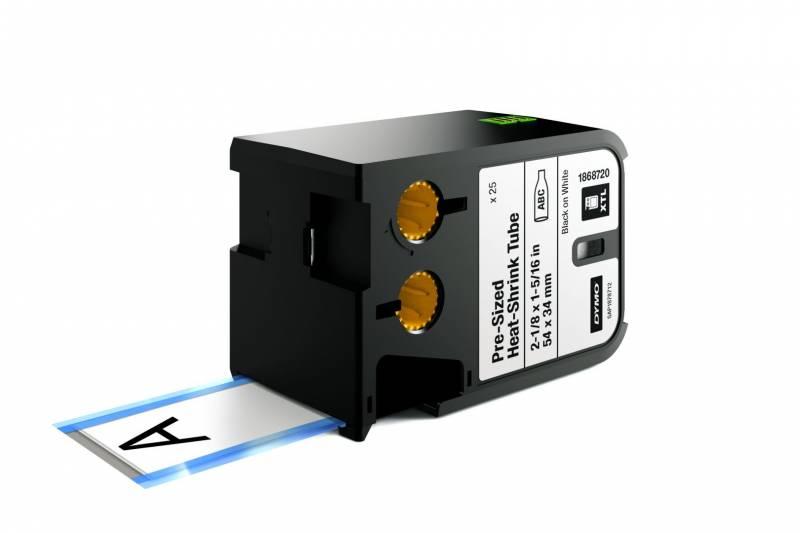 Labeltape DYMO XTL 54x34mm sort på hvid krympeflex