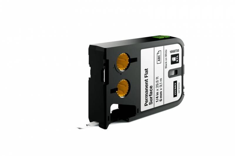 Image of   Labeltape DYMO XTL 6mmx9,1m sort på hvid permanent plan