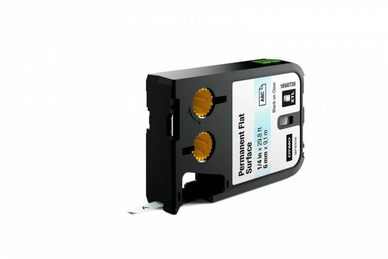 Labeltape DYMO XTL 6mmx9,1m sort på klar permanent plan